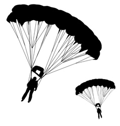 Skydiver silhouettes parachuting vector