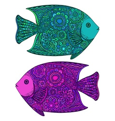 Two beautiful colorful hand drawn fishes vector image