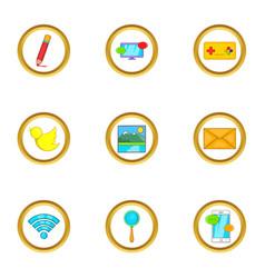 Web free time icon set cartoon style vector