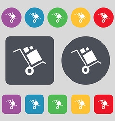 Loader icon sign a set of 12 colored buttons flat vector