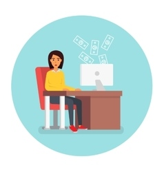 Business woman at workplace in office with vector