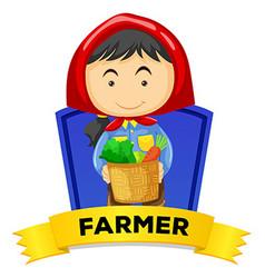 Label design with female farmer vector image
