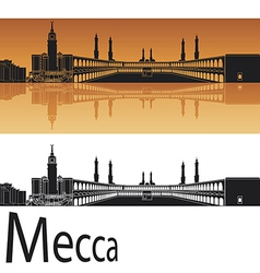 Mecca skyline in orange background vector