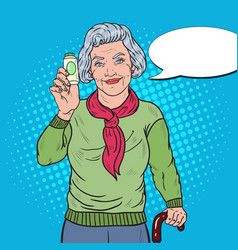 Pop art senior woman with pills health care vector