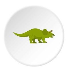 Green styracosaurus dinosaur icon circle vector