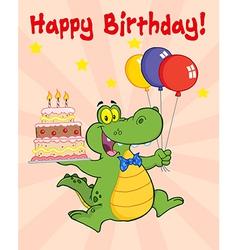Cartoon crocodile birthday vector image