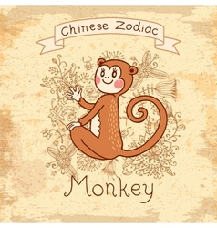 Vintage card with chinese zodiac - monkey vector