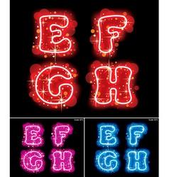 Neon alphabet letters vector image