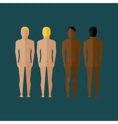 With naked men body front and back view in flat vector