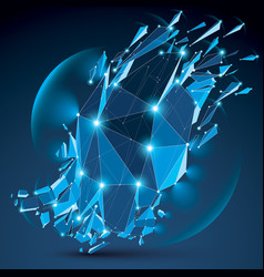 3d clear blue digital wireframe object broken vector