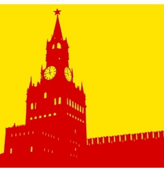 Moscow russia kremlin spasskaya tower with clock vector