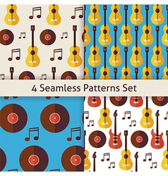 Four flat seamless music instrument guitar musical vector