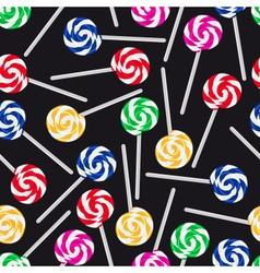 Colorful sweet lollipops seamless dark pattern vector
