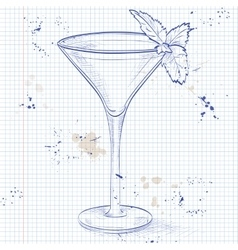 Grasshopper alcoholic cocktail on a notebook page vector