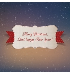 Christmas realistic white paper label with ribbon vector