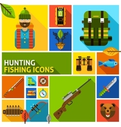 Hunting and fishing icons set vector