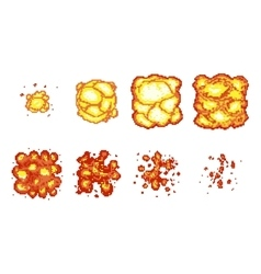 Pixel art explosion animation frames vector