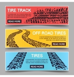 Tire tracks banners set vector