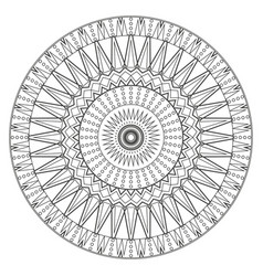 Ancient mandala coloring page for adults on vector