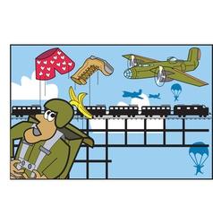 Army parachute cartoon vector