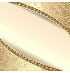 background frame with flowers of silk with gold gl vector image vector image