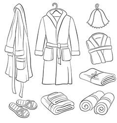 Bath cloth sketches vector image