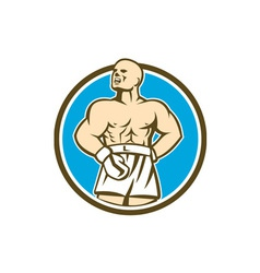 Boxer Champion Shouting Circle Retro vector image vector image
