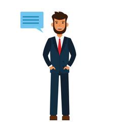 businessman says hello cartoon flat vector image