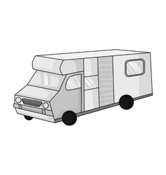 Campervan icon in monochrome style isolated on vector