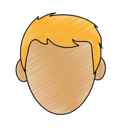 Color pencil cartoon front view faceless front vector