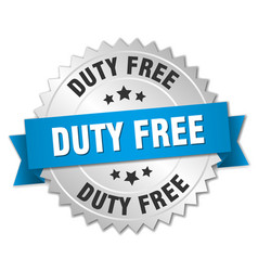 Duty free 3d silver badge with blue ribbon vector
