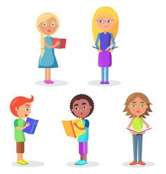 Five schoolchildren stands and holds schoolbooks vector