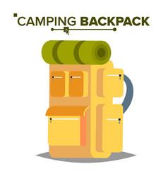 Hiking backpack tourist hiking back pack vector