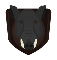 Hunting trophy wild boar head on wood shield vector