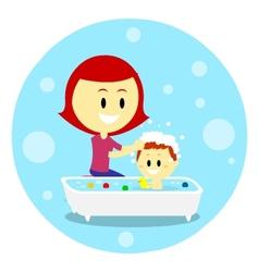 Mom bathing her baby vector