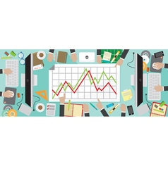Office workers desk with office supply vector