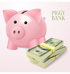 Piggy bank with dollars poster vector