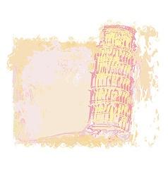 Pisa tower grunge background card vector