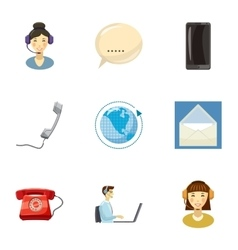 Round clock support icons set cartoon style vector