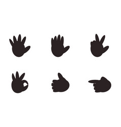 set of hand gesture signs nonverbal symbols vector image