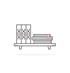 Simple black thin line book shelf on white vector