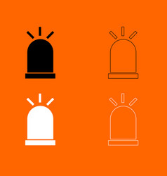 siren black and white set icon vector image