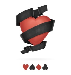 Suit of Hearts Playing With Ribbon vector image vector image