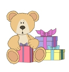 Teddy bear is sitting with gift box vector