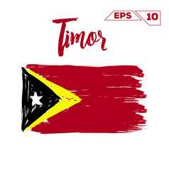 Timor flag brush strokes painted vector