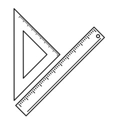 Triangle ruler measuring school thin line vector