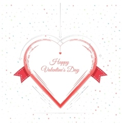 Valentines Day Card Lettering Red Frame vector image vector image