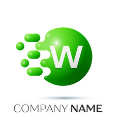W letter splash logo green dots and circle bubble vector