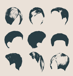 Women modern fashion hairstyles and trendy haircut vector