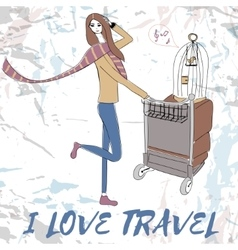 Young women with suitcases and bird cage for t vector